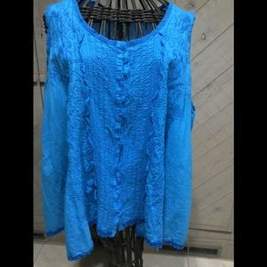 GUC JOHNNY WAS EMBROIDERED BUTTON DOWN TUNIC SZ L